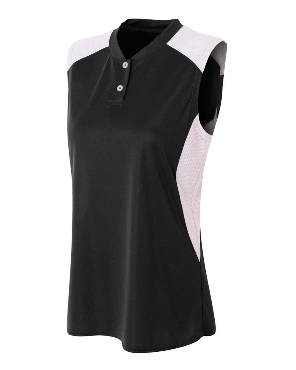 A4 Big Girls Two-Button Wicking Henley Shirt