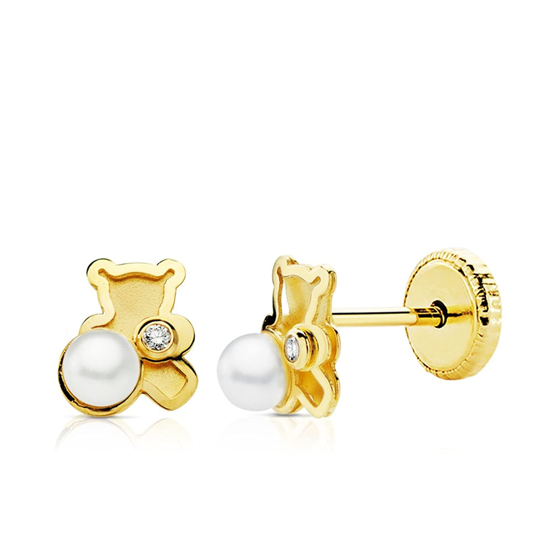 Pendientes bebé niña oso osito perlas y circonitas oro amarillo k x