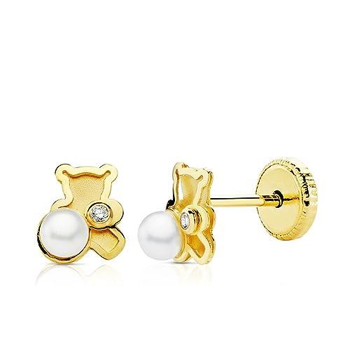 37423a63b5b6 Pendientes bebé niña oso osito perlas y circonitas oro amarillo 18k ...
