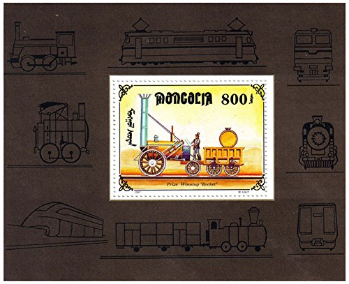 """Trains mint stamp sheet for collectors and train lovers featuring """"Rocket"""" old train model – Mongolia / 1997 / 1 stamp (Stamps Mint Train)"""