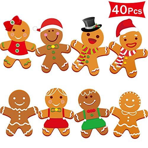 40 Pieces Winter Christmas Mini Gingerbread Cut-Outs Versatile Classroom Decoration Gingerbread Cut-Outs with Glue Point Dots for Winter Bulletin Board Classroom School Christmas Party, 5.9 x 5.9 Inch (Gingerbread Man Christmas Decorations)