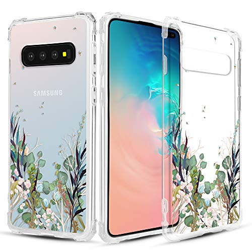 Clear Case Blue Crystal - Caka Clear Case for Galaxy S10 Plus Clear Floral Case Flower Pattern [Floral Series] Slim Girly Anti Scratch Excellent Grip Premium Clarity TPU Crystal Case for Samsung Galaxy S10 Plus - Blue Green