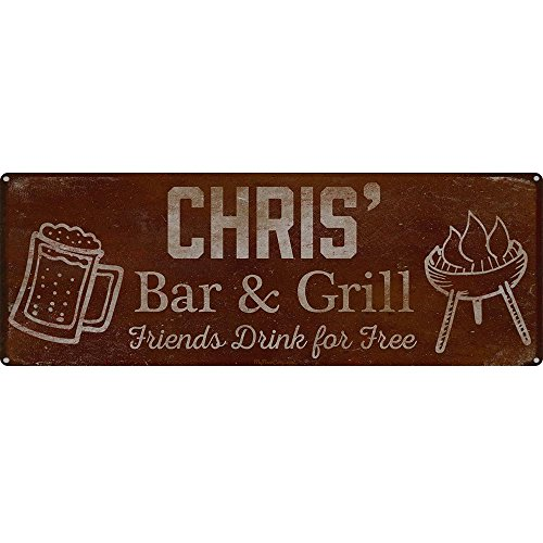 Personalized Barbecue Sign ~ Chris' Bar & Grill Friends Drink for Free ~ 6 x 16 Inch 24-Gauge Steel ~ Metal Bar Accessories & Wall Decorations ~ USA Made ~ BBQ Rustic Vintage Distressed Look ()