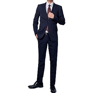 (Richard&Neil) 11 裾上げ済み 選べる股下 上下ウォッシャブル スーツ スリムタイプ ネイビー×ストライプ g172z101-113-A4-070