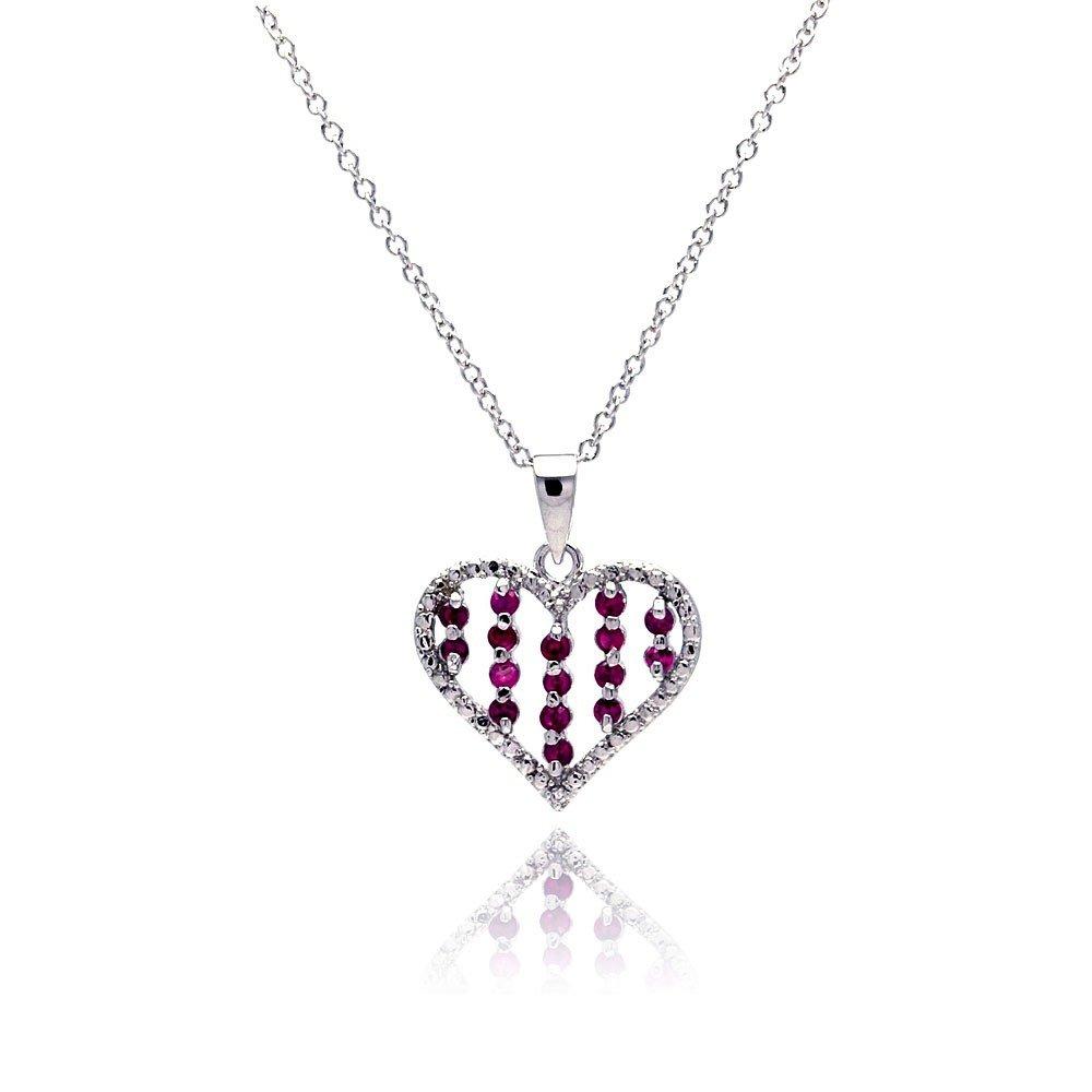 CloseoutWarehouse Cubic Zirconia Heart Pendant Sterling Silver