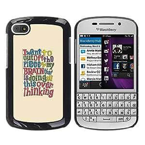 Paccase / SLIM PC / Aliminium Casa Carcasa Funda Case Cover para - Quote Brain Smart Text - BlackBerry Q10