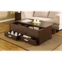 Espresso Accent Cocktail Coffee Table with Storage