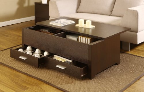 Cheap Espresso Accent Cocktail Coffee Table with Storage