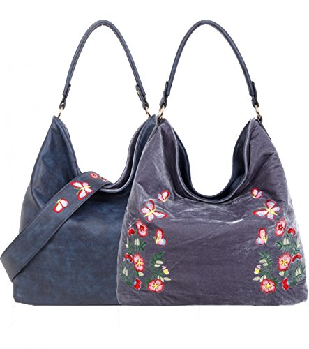 Women's Handbags Handbags Way Faux Leather Grey Shoulder Women Reversible REVERSIBLE BL LeahWard D Velvet Two Use For dqwtAHv