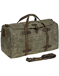 HIKA Waxed Canvas Leather Trim Weekend Bag Men Women Gym Duffel bag Travel Handbag