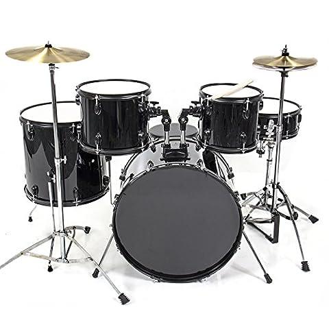 Drum Set 5 PC Complete Adult Set Cymbals Full Size Black New Drum Set (Amazon Digital Sheet Music)
