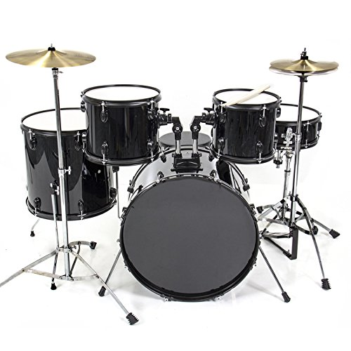 drum-set-5-pc-complete-adult-set-cymbals-full-size-black-new-drum-set