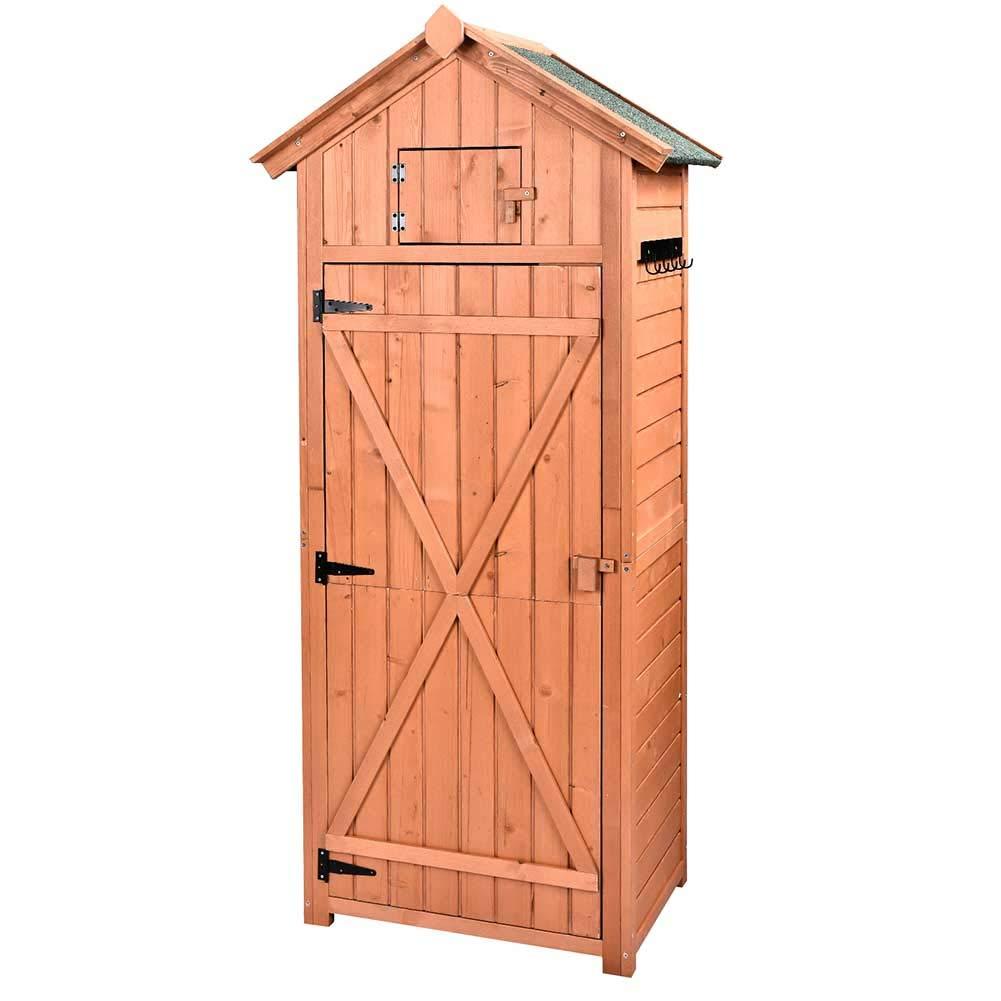 B BAIJIAWEI Garden Storage Shed - Garden Tool Storage Cabinet - Lockable Arrow Wooden Storage Sheds Organizer for Home, Yard, Outdoor