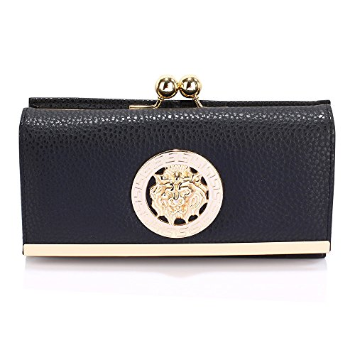 Womens Large Purses Ladies designer Wallet With Card Slots and Metal Decoration Luxury Look Design 1 - Black