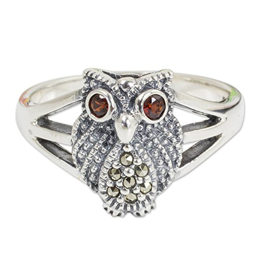 NOVICA Garnet and Marcasite .925 Sterling Silver Cocktail Ring, Little - Ring Garnet Marcasite