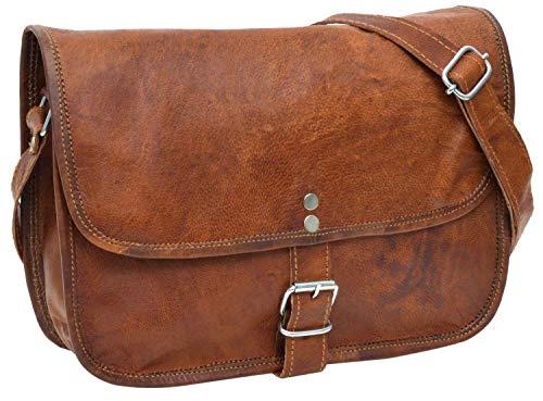 Gusti Umhängetasche Leder - Nature Handtasche Mary L Damen Ledertasche Tablettasche Vintage Ziegenleder Braun 9,7''