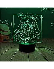 Sailor Moon led-nachtlampje, nachtlampje voor meisjes, slaapkamer, decoratie, touch-sensor, kleurrijk led-nachtlampje
