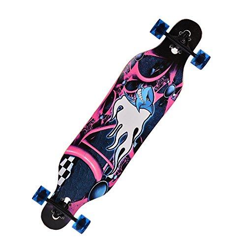 41'' Professional Speed Wooden Print Skateboard Drop Down Complete Longboard (Animal Print)