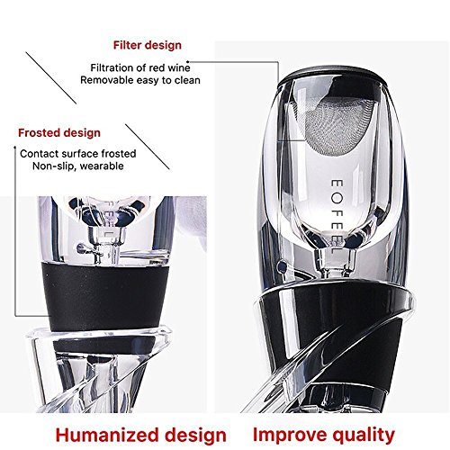 Review EOFEEL Wine aerator Decanter Pourer with Table Stand Filter -Deluxe Boxed-Wine gifts-wine aerator set -wine table aerator