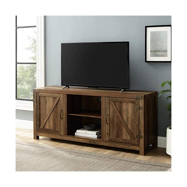 Home Accent Furnishings New 58 Inch Barn Door Television Stand (Rustic Oak, 58 Inch)