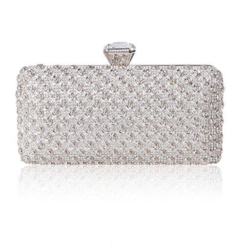 Damara® Damen Exklusiv Strass Handtasche Mit Rose Mustern,Silber