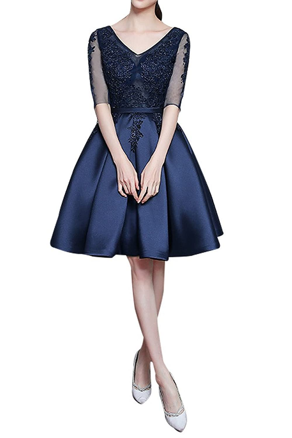 Charm Bridal Appliqued Women Cocktail Girl Homecoming Party Dress with Sleeves