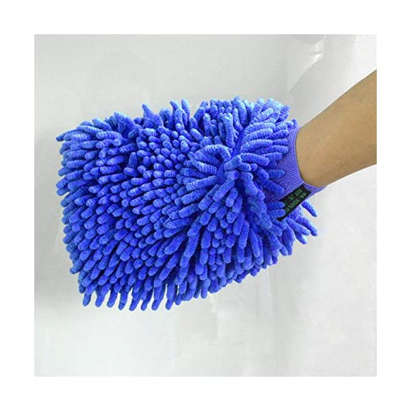 Jmkcoz 2 Pack Microfiber Car Wash Mitt Chenille Mitt Gloves Cleaning Cloth Car Wash Mop For Car Cleaning Blue