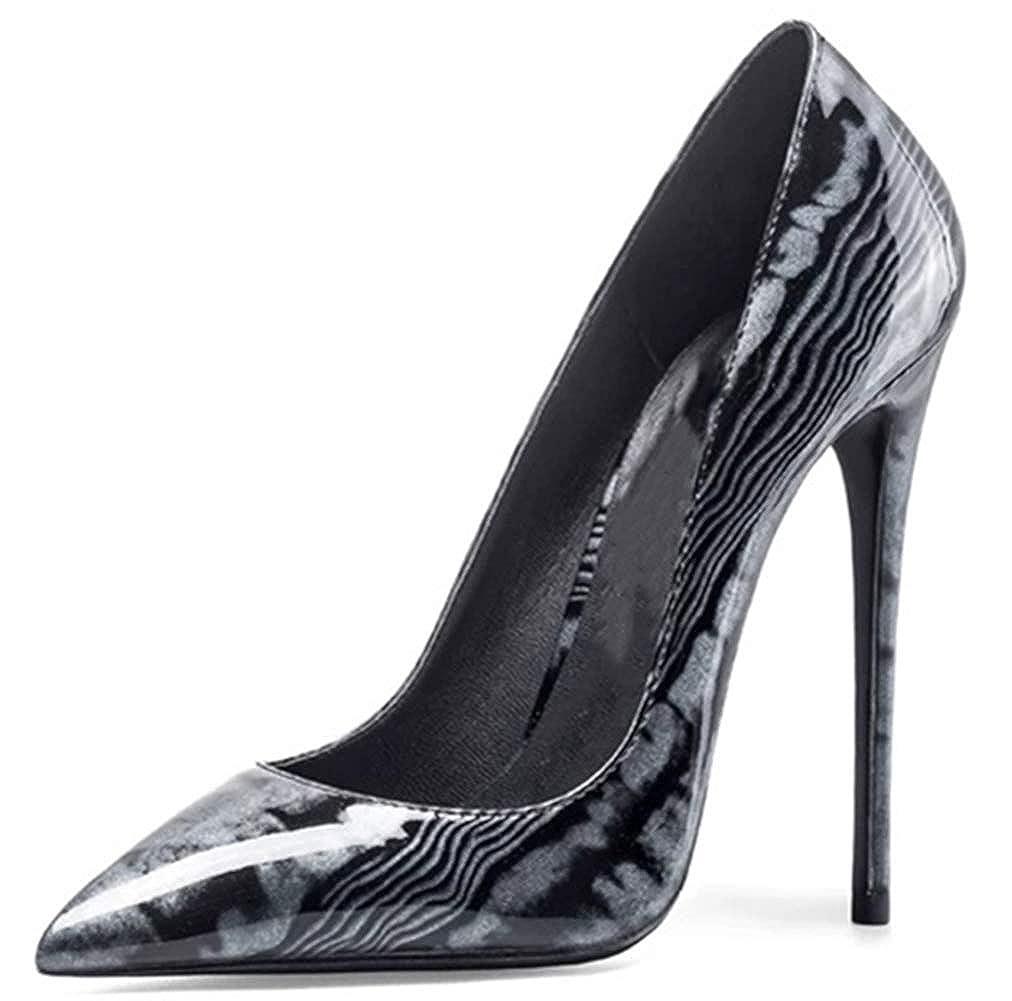 Charmstep Damen gedruckt Pumps Stiletto High Heels Patent Party Kleid Schuhe