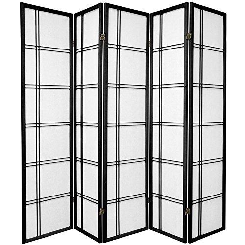 ORIENTAL FURNITURE 6 ft. Tall Double Cross Shoji Screen - Black - 5 Panels - Style Room Divider