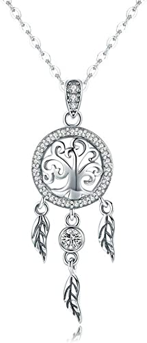 925 Solid Sterling Silver Necklace with CZ Dreamcatcher Pendant