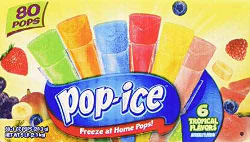 Pop-Ice Freezer Pops, Fat Free Ice Pops, Tropical Flavors (80 - 1 oz pops)