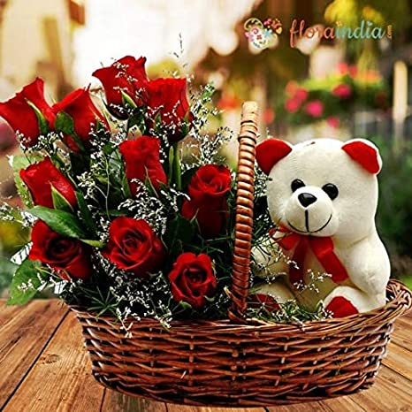 Floraindia Flowers Basket And 1 Teddy Bear Red 10 Roses