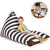 POKONBOY Stuffed Animal Storage Bean Bag, Bean Bag Cover for Organizing Kid's Room,Extra Large Stuffed Animal Storage Stuffed Many Animals Bean Bag Chairs for Kids - Cotton Canvas