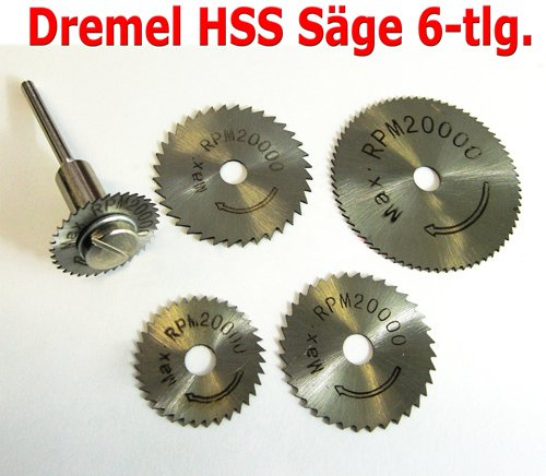 6tlg Sägeblatt HSS Kreissägeblatt Säge Set für Kunststoff Weichmetall Holz Alu