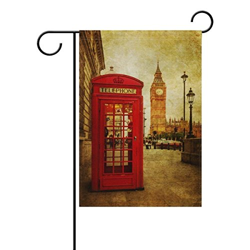 Raininc's Double Sided Family Flag Red Phone Box In London Street Polyester Outdoor Flag Home Party Decro Garden Flag -