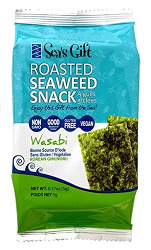 Sea's Gift Korean Seaweed Snack Kim Nori, Roasted Wasabi, 0.17 Ounce (Pack of 12)