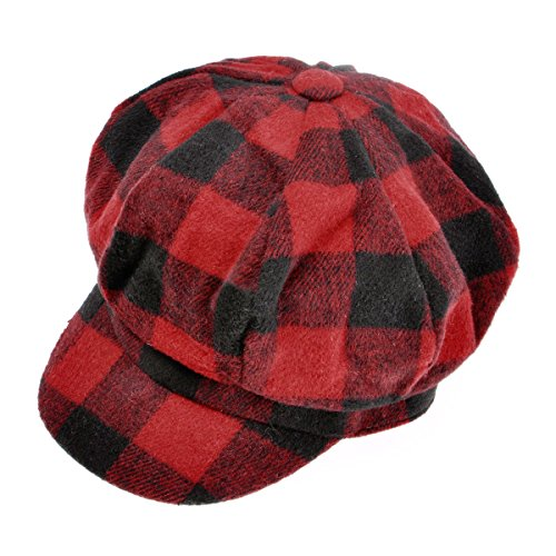 Womens Classic Plaid Newsboy Caps Visor 8 Panel Gatsby Apple Cabbie Hat, Red