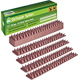 Defender Spikes, Cat and Bird Repellent [PROTECT YOUR PROPERTY] Outdoor Fence Security Control to Keep Off Roosting Pigeons and More Out. Plastic Deterrent Anti Theft Climb Strips - 12pk [12 foot]