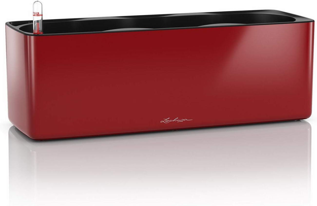 Lechuza 13672 Cube-Macetero de Resina de poliresina para Colgar, Rojo Escarlata Alto Brillo