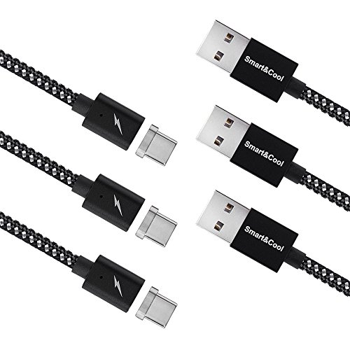 (Smart&Cool 5 Feet Gen6 Magnetic USB-A to USB-C Fast Charging (When Work with QC Adapter) and Data Sync Cable for Galaxy S8/S8 Plus/S9, LG G5/G6, Nokia 950/950XL etc. (5ft-Black&Silver Triple-Pack))