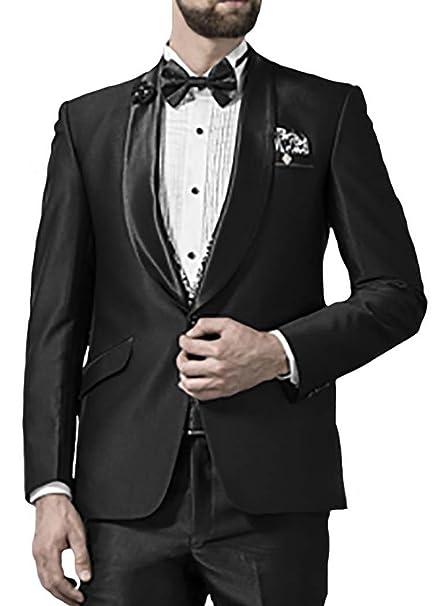 INMONARCH Hombres 5 Pc traje negro esmoquin aspecto formal ...