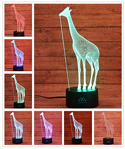 Giraffe 3D Night Light 7 Color LED Touch Table Desk Lamps Energy Saving Animal Lights Fashion Creative Home Decoration Gift...