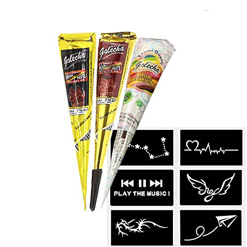 India Painting Tattoo Paste Cone,3 Tube Black White Brown Paste Cone Temporary Tattoo Kit Indian Body Art Painting Drawing with free Stencil …
