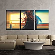 """wall26 - 3 Piece Canvas Wall Art - Beautiful Woman Standing Against Colorful Lights,Digital Painting - Modern Home Decor Stretched and Framed Ready to Hang - 24""""x36""""x3 Panels"""