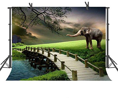FUERMOR 7x5ft Elephant on Grassland Photography Backdrop Props Field Wood Bridge Photo Background Room Mural GEFU393