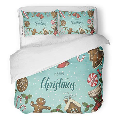 - Semtomn Decor Duvet Cover Set Twin Size Festive Christmas Holly Leaves Bells Gingerbread and Sock Greeting 3 Piece Brushed Microfiber Fabric Print Bedding Set Cover