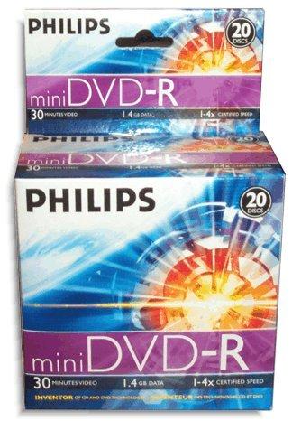 Philips 4X 1.4GB Mini DVD-R 20-Pak in Cakebox