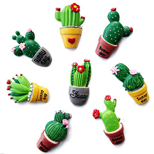 Magnet Fridge,Gosear Fridge Magnet Decor 8 PCS Assorted Styles Succulent Cactus Shape Fridge Refrigerator Decor Magnets Sticker Home Decoration Children Education Toys