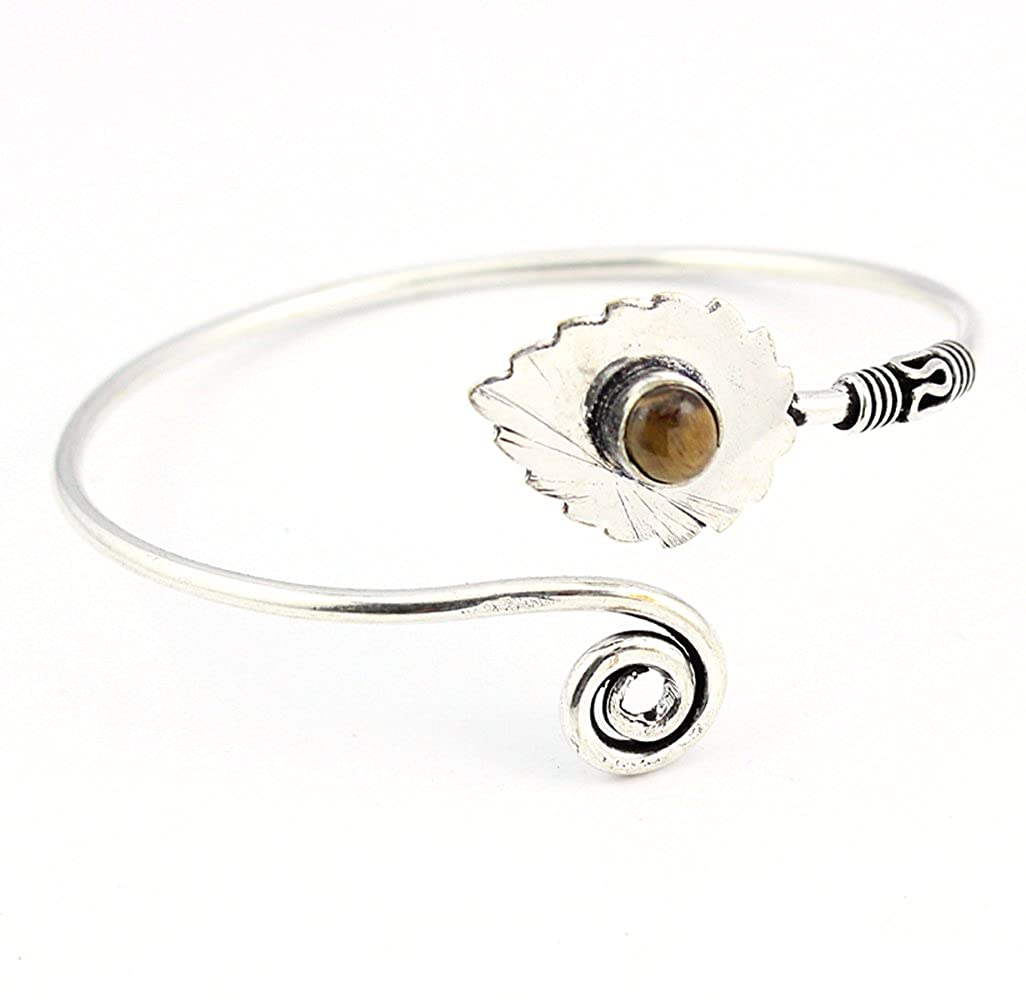 BEST QUALITY TIGER EYE FASHION JEWELRY SILVER PLATED BANGLE S19484 Adjustable
