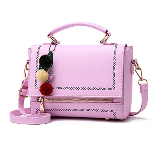 Luckywe Mujeres Bolso De Elegante Con Asas Y Bandolera Multicolor Bolso De Asas Boston Messenger Bag Morado